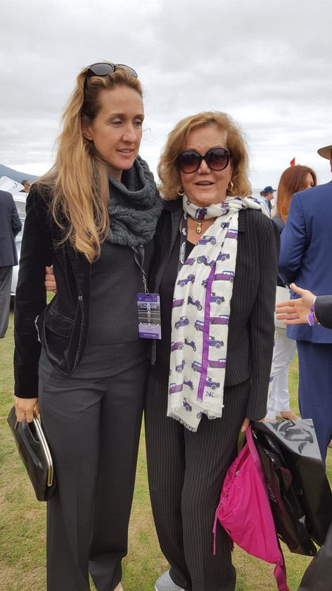 Maggie Newman Styling the Isotta Fraschini scarf at Pebble Beach 2017