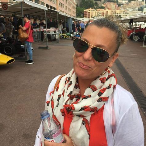 Gina Colasacco wearing the Alfa Romeo scarf at Monaco May 2018