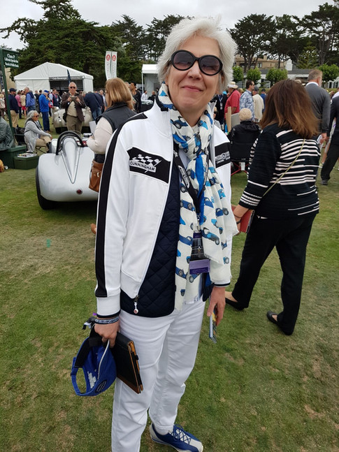 Kara Canum styling up for Pebble weather in the Bugatti scarf