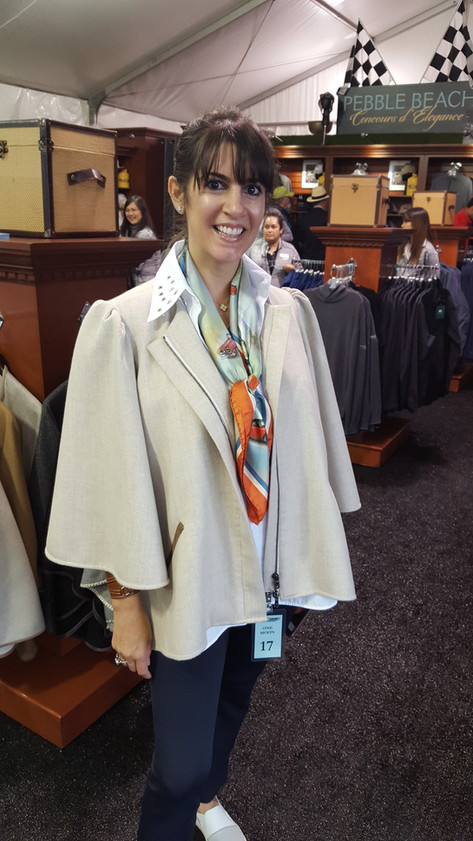 Tara Mercurio combines her cashmere cape with our American Dream cars silk scarf at Pebble Beach 2017