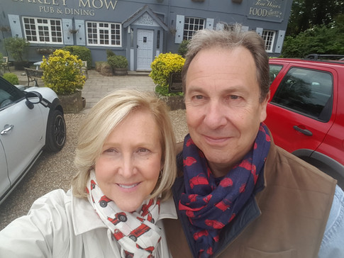 Katee and Nic Waller out for a pub lunch in Alfa and Ferrari scarves