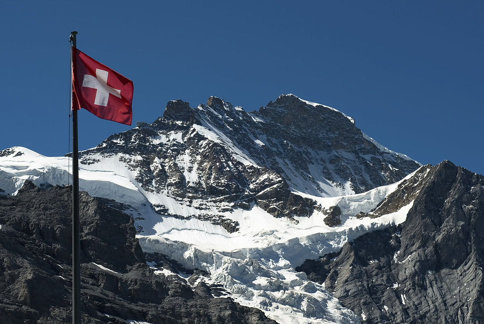 Swiss flag infront of mountain