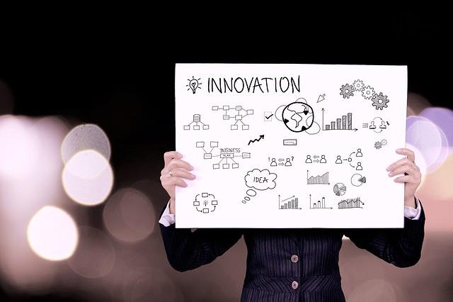 Pessoa segurando cartaz escrito Inovação e várias ideias desenhadas