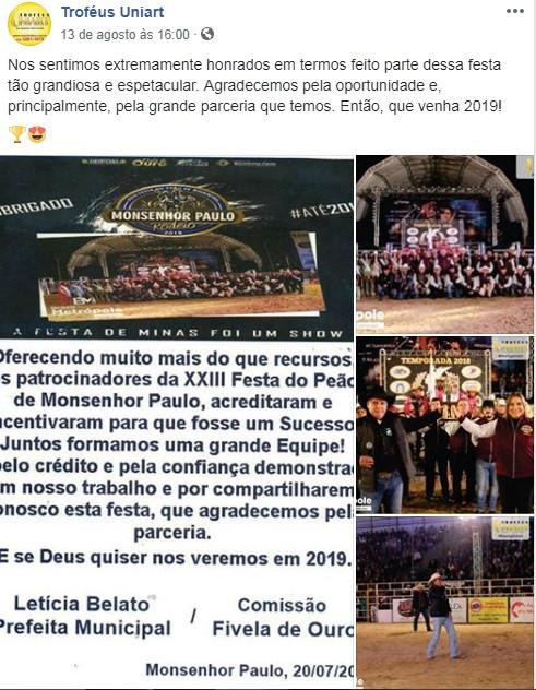 Publicação do Facebook com agradecimento para a organização do Rodeio de Monsenhor Paulo