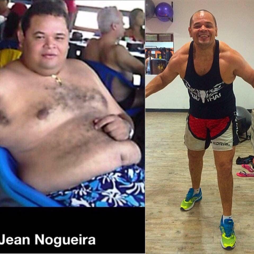 Jean antes e depois de se tornar um atleta