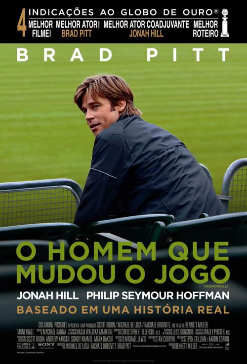 Capa filme - Brad Pitt sentado em cadeira de arquibancada