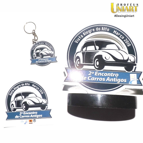 Kit premiação de evento de carros antigos: Troféu, chaveiro e adesivo