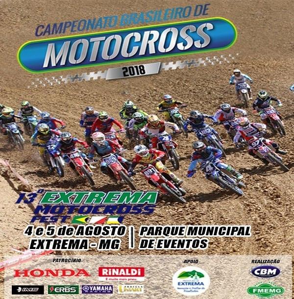 Cartaz do campeonato de motocross com vários motociclistas em prova