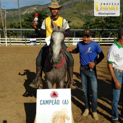 Homem montado no cavalo segurando troféu