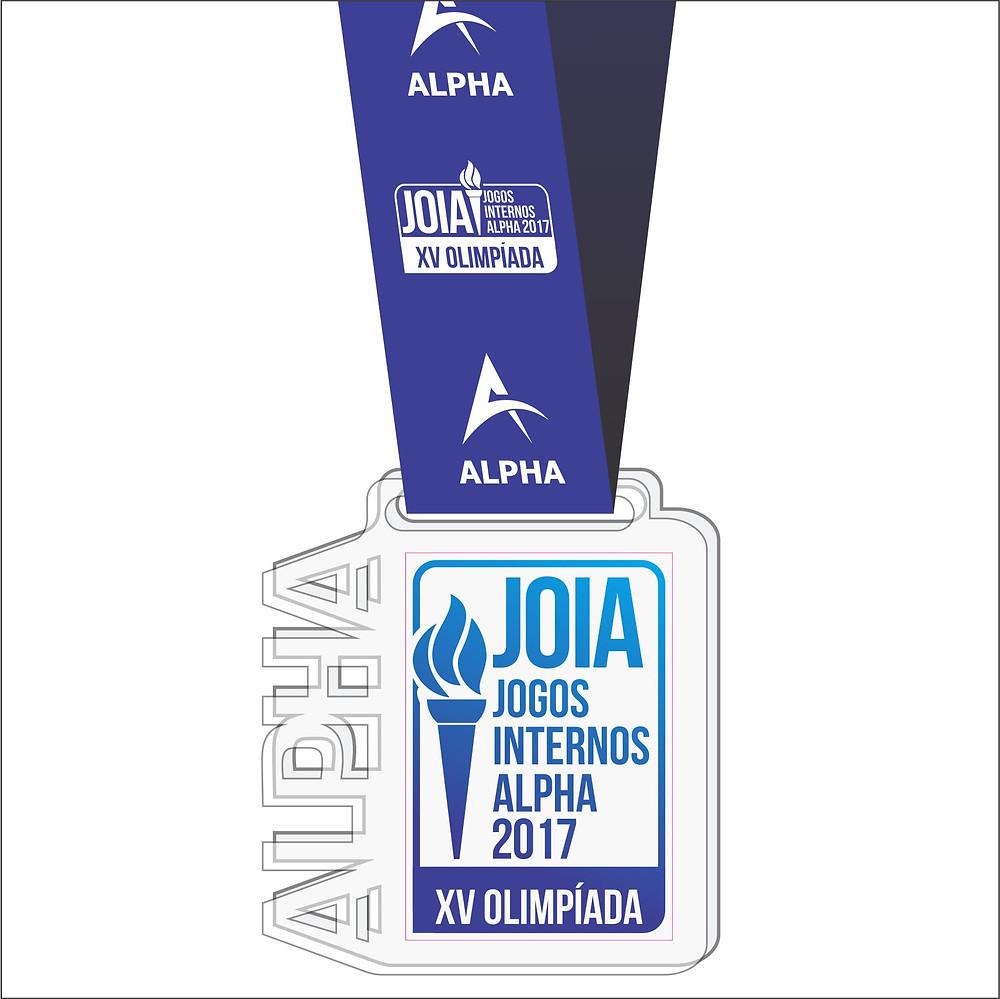 Medalha de acrílico cristal com recorte em nome de logo e fita personalizada