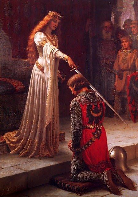 Mulher com espada sobre ombros de um homem ajoelhado