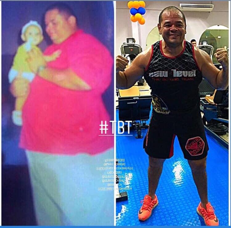 Fotos de Jean antes e depois de se tornar um atleta