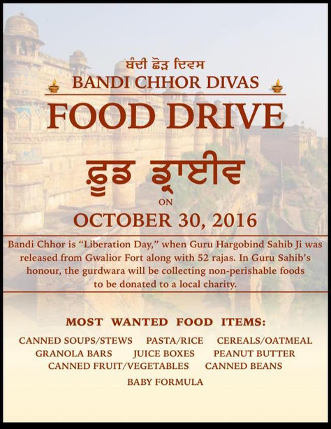 2 Updates: Food Drive and Gurmukhi Classes.