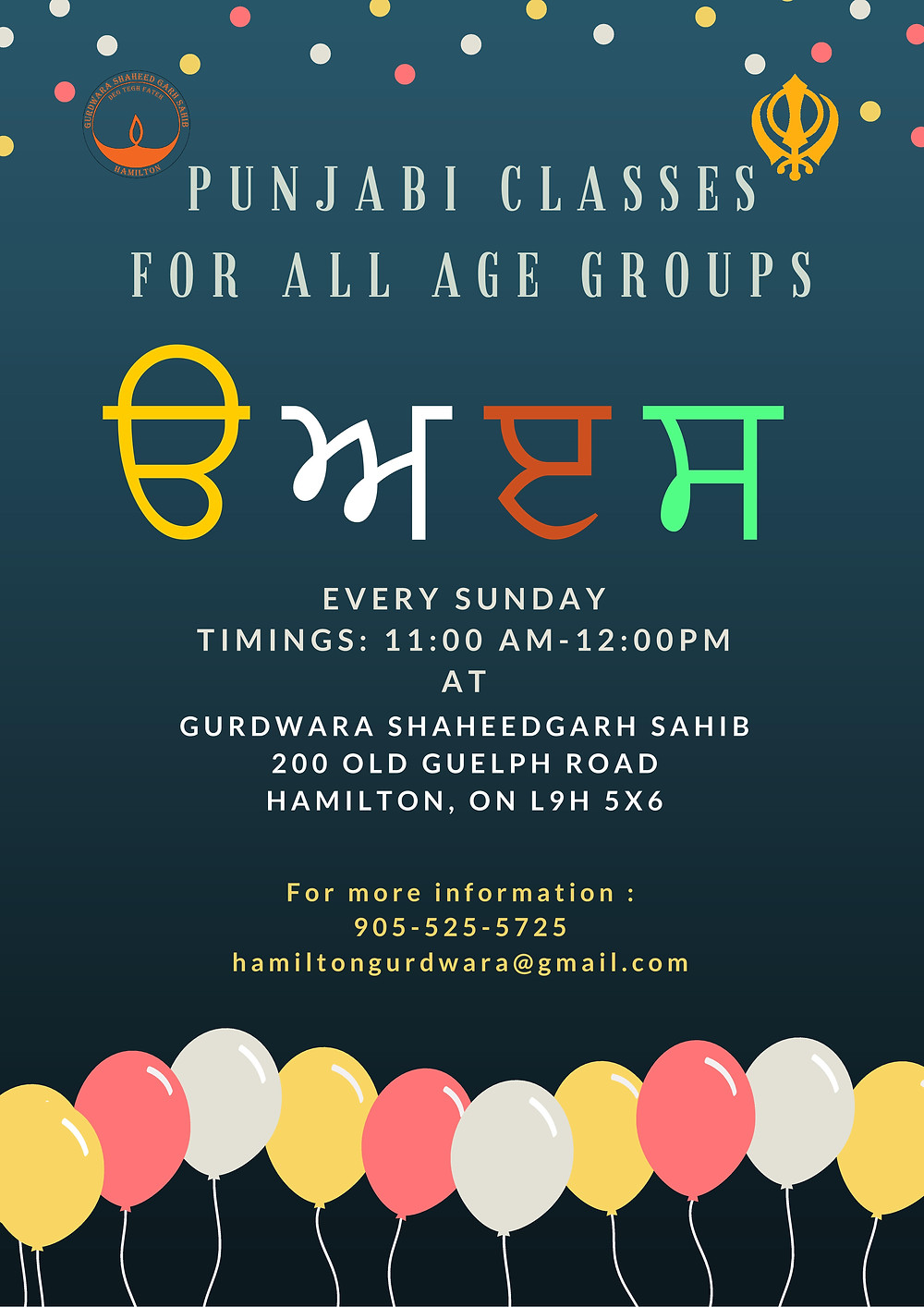 Punjabi/Gurmukhi Classes have started at our Gurdwara Sahib. Register yourself or your child as soon as possible. Email us for more details: hamiltongurdwara@gmail.com