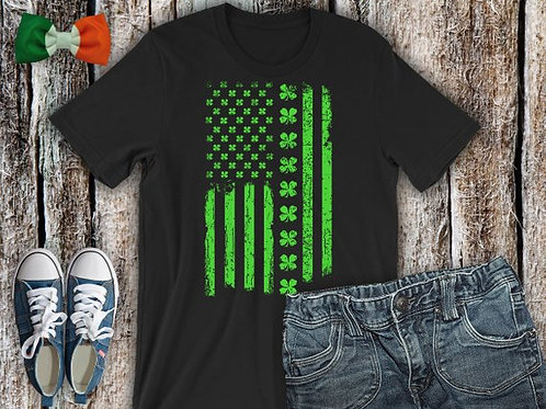 American Flag with Clover Line