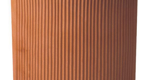 Vaso resina angolare millerighe anticato cm 33x33  AA33