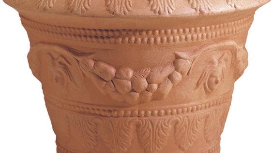 Vaso conico festonato con ghirlande anticato cm 79 CNG 85