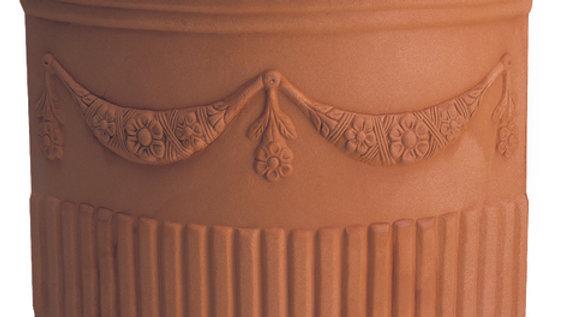 Vaso resina angolare doppio festone anticato cm 49x46 h56 ADF 50