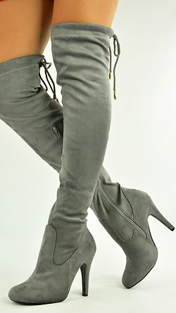 GREY STILETTO HEEL OVER THE KNEE BOOTS