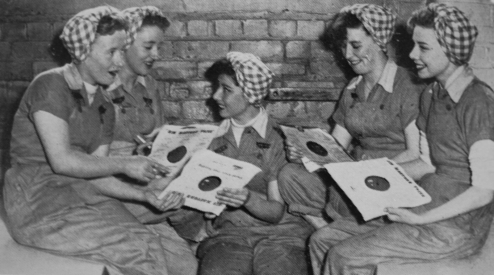 Sugar Girls choose the latest record to sing along to at work (1950s).jpg
