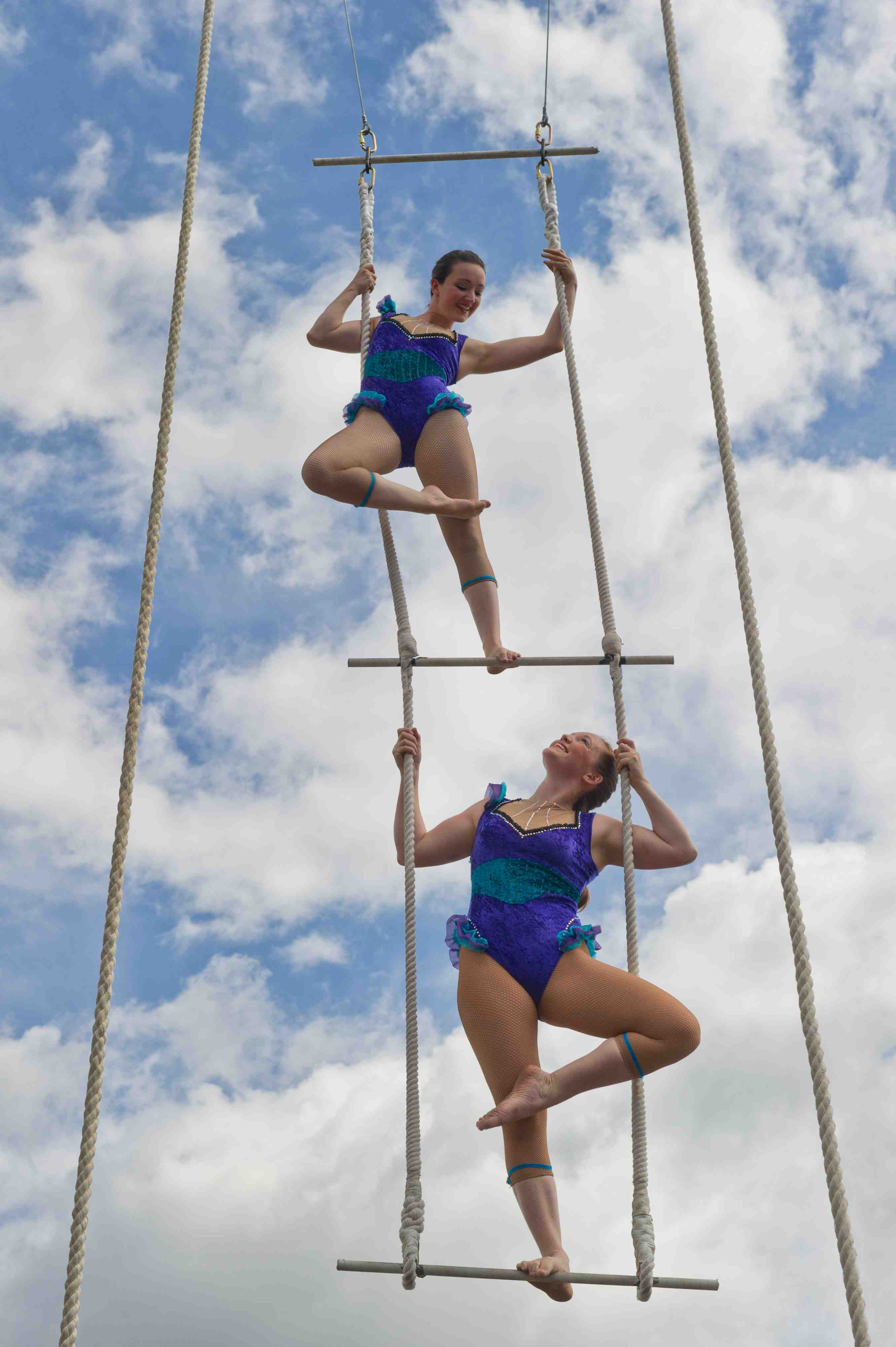 three-high trapeze vintage circus