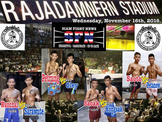 Wanchai Kiatmoo9 versus Sarawute is the  match-up to watch out for on tonight's Phetjaopraya pro