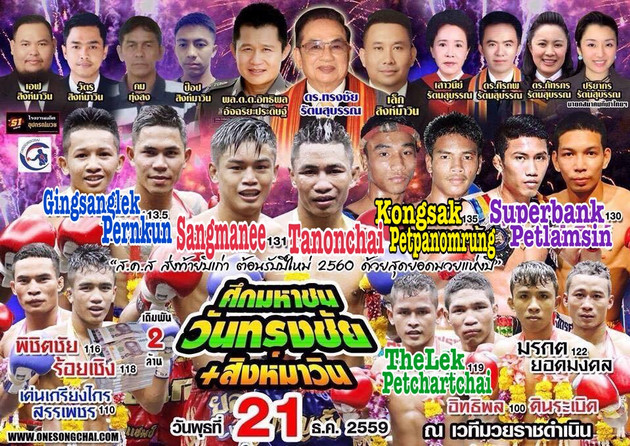 Songchai promotions are closing out 2016 at Rajadamnern stadium with Sangmanee versus Tanonchai part