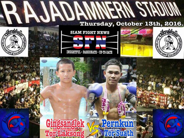 Gingsanglek versus Pernkun headlines the Songchai promotion at Rajadamnern stadium