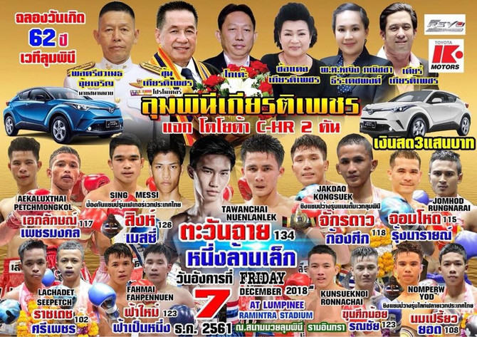 Lumpinee Stadium Champions Show Lineup Is Set For December 7