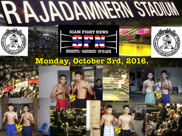 Rajadamnern stadium Fights: Monday, October 3rd, 2016.
