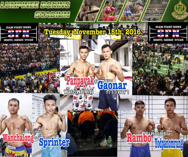 Panpayak versus Gaonar part IV headlines tonight's PetKiatpetch show at Lumpinee stadium