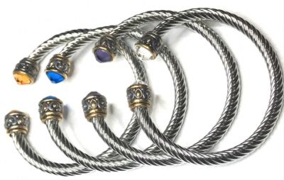 DY Cable Bangle with Stone Bangle