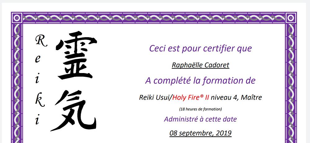 Obtention du diplôme NIVEAU MAÎTRE en septembre 2019