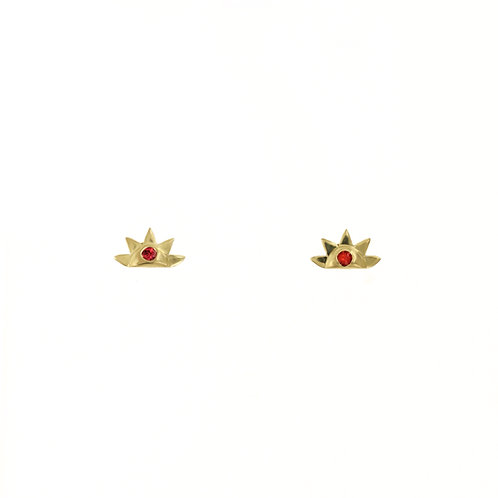 SERENA RISE STUDS: CORAL SPINEL