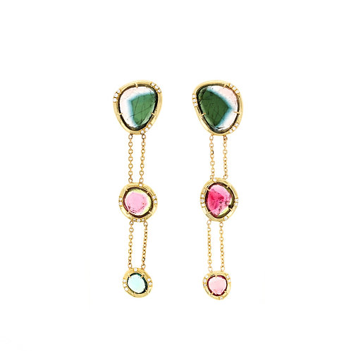 BRIDGETTE EARRINGS: ROSECUT TOURMALINES & DIAMONDS