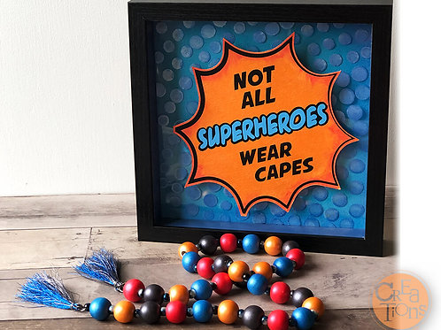 Superhero Theme - Shadow Box Art and Strung Beads with Tassels Garland