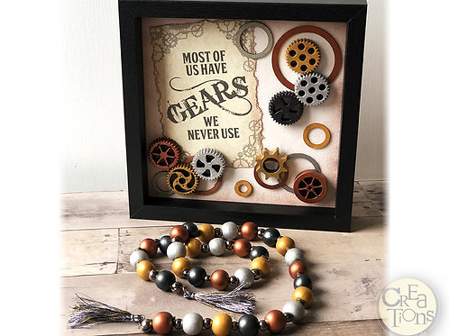 Gears Industrial Steampunk Theme - Shadow Box Art and Strung Beads with Tassels