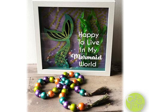 Mermaid World - Shadow Box Art and Strung Beads with Tassels Garland