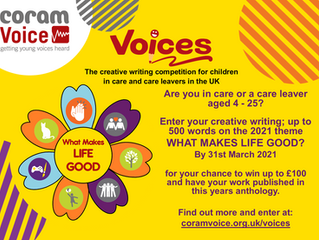 Voices 2021 Creative Writing Competition for Children in Care and Care Leavers - 1 Month To Enter!