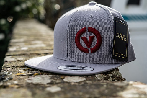 Combe Valley Campers snap back hat, Grey with red embroidery.
