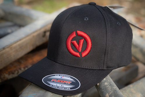 Combe Valley Campers Flex fit cap, Black with red embroidery