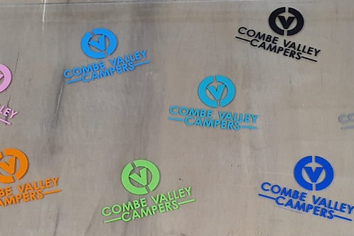 Combe Valley Campers Vinyl print stickers available in 12 colours