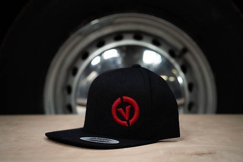 Combe Valley Campers snap back hat, Black with red embroidery.