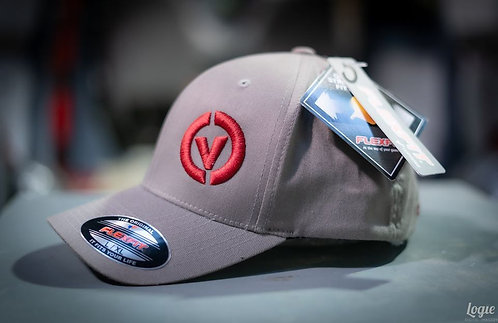 Combe Valley Campers Flex fit cap, Grey with red embroidery.