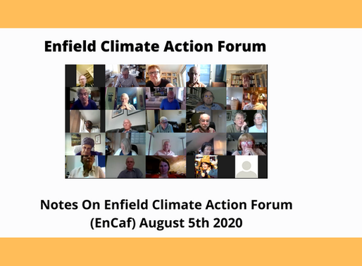 Notes On Enfield Climate Action Forum (EnCaf) August 5th 2020