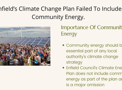 Enfield's Climate Change Plan Failed To Include Community Energy.
