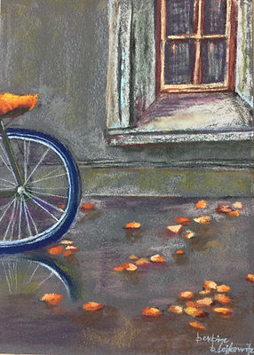 Landscape Pastel Painting Rainy Day Bike Amsterdam