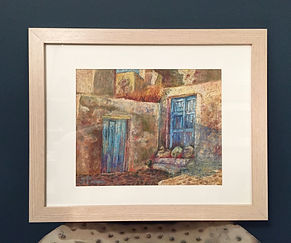 Framed pastel painting landscape Oia