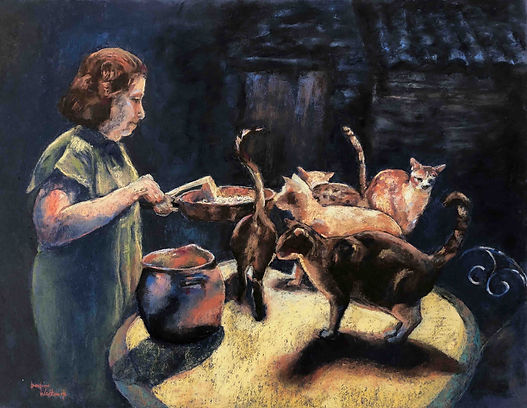 Genre art, Feeding Time, cats portrayal