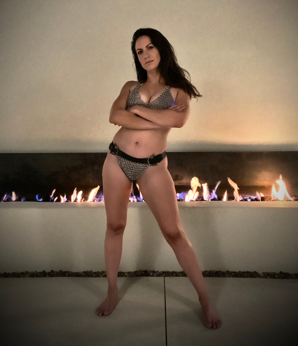 Domina Quinn Livid from San Francisco wearing chain mail bikini